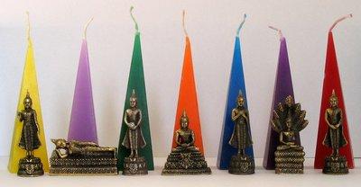 Geburtstag Buddha silberne Farbe ganze Woche -mit Kerze